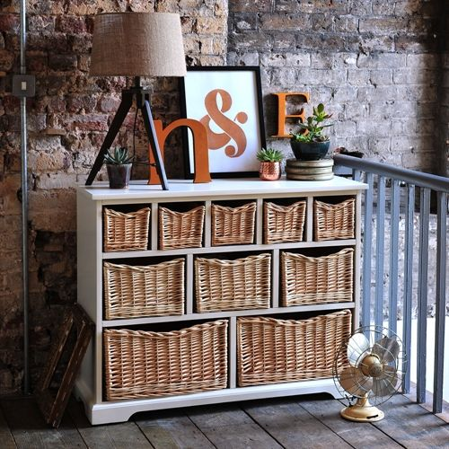Farmhouse Painted 10 Drawer Merchants Chest Ivory