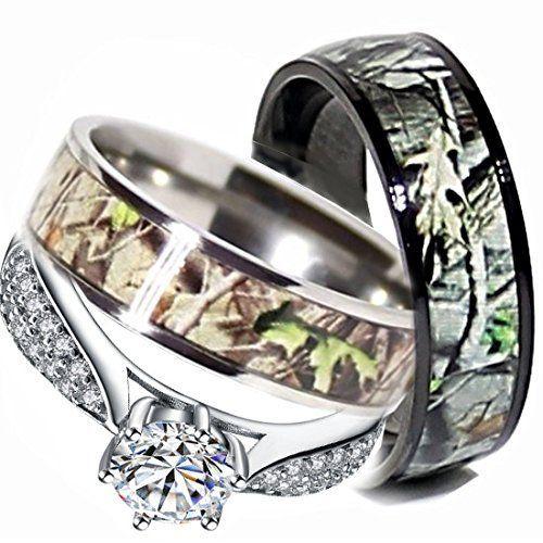 Mens & Womens Camo Engagement Wedding Rings Set Silver & Titanium (Size Men 9; Women 7)