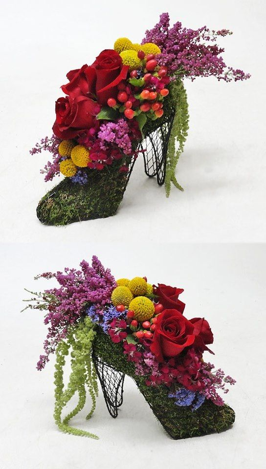Wire heels floral arrangements, I like these for a garden party fashion show.