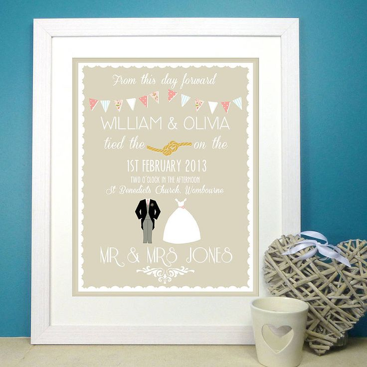 personalised classic wedding print by the little paper company | notonthehighstreet.com