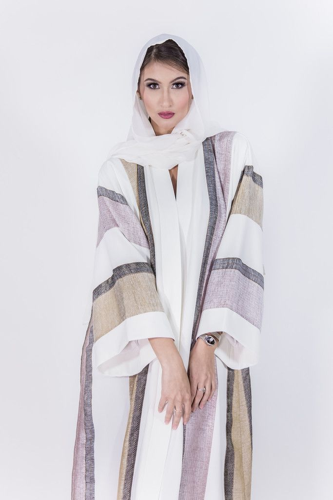white stripes abaya