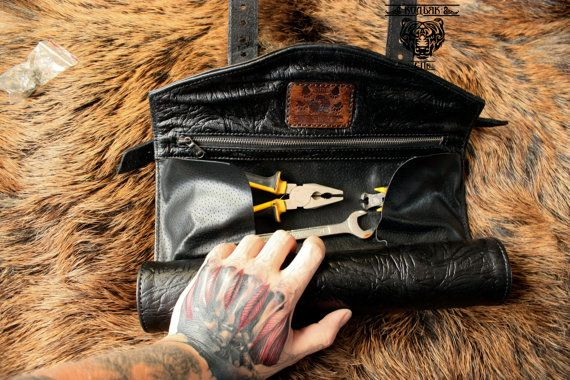 Leather Tool Roll Leather Motorcycle Tool Bag Fork Bag