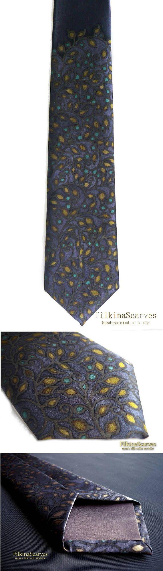 @FilkinaScarves Etsy Luxury Men's Silk Tie Hand Painted Necktie Denim tie Olive Leaves Navy Tie  Batik Men's Fashion Wedding Tie Groomsmen tie Mens gift FS 45