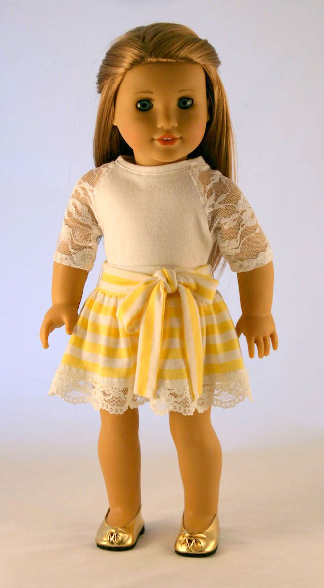 American Girl Doll Clothes - Striped Knit Skirt and Baseball Tee with Lace Details