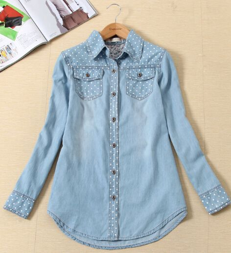 Denim Blouses 2017 Womens New Fashion Polka Dot Long Sleeve Ladies Denim Shirts With Chest Pockets Free Shipping