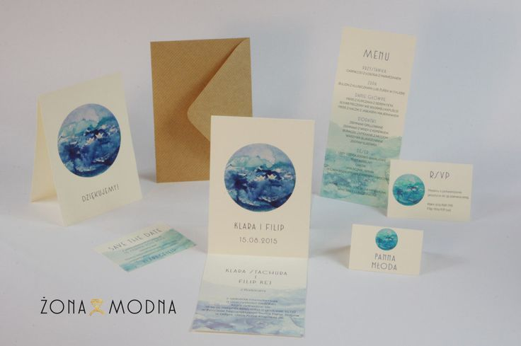 Wedding stationery with sea www.zonamodna.com