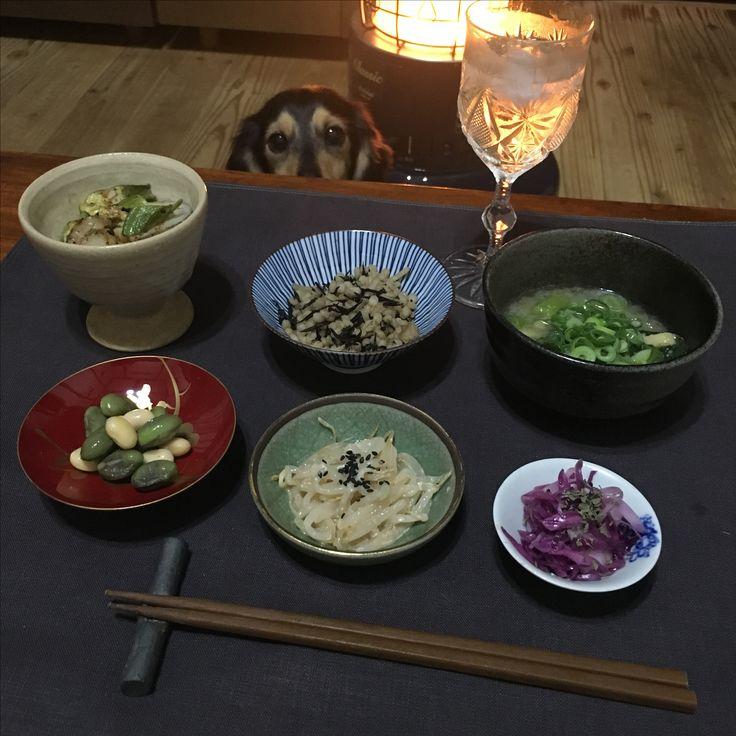 夜ご飯。ヒジキの雑穀炊き込みご飯。枝豆チーズ。オクラとホタテのガーリックソテー。もやしナムル。ネギスープ。