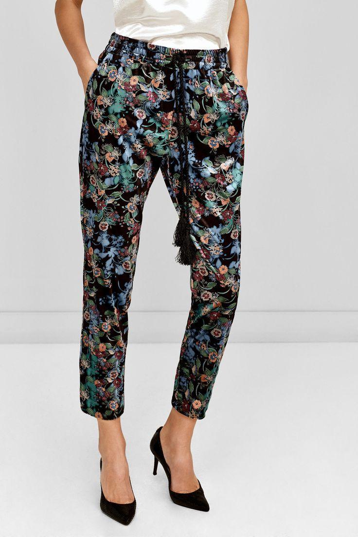 J2017  Pedro del Hierro Print velvet trousers Black