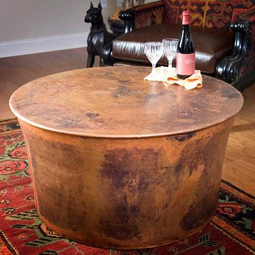 Jatex Copper 36 Quot X 18 Quot Round Drum Coffee Table 22314