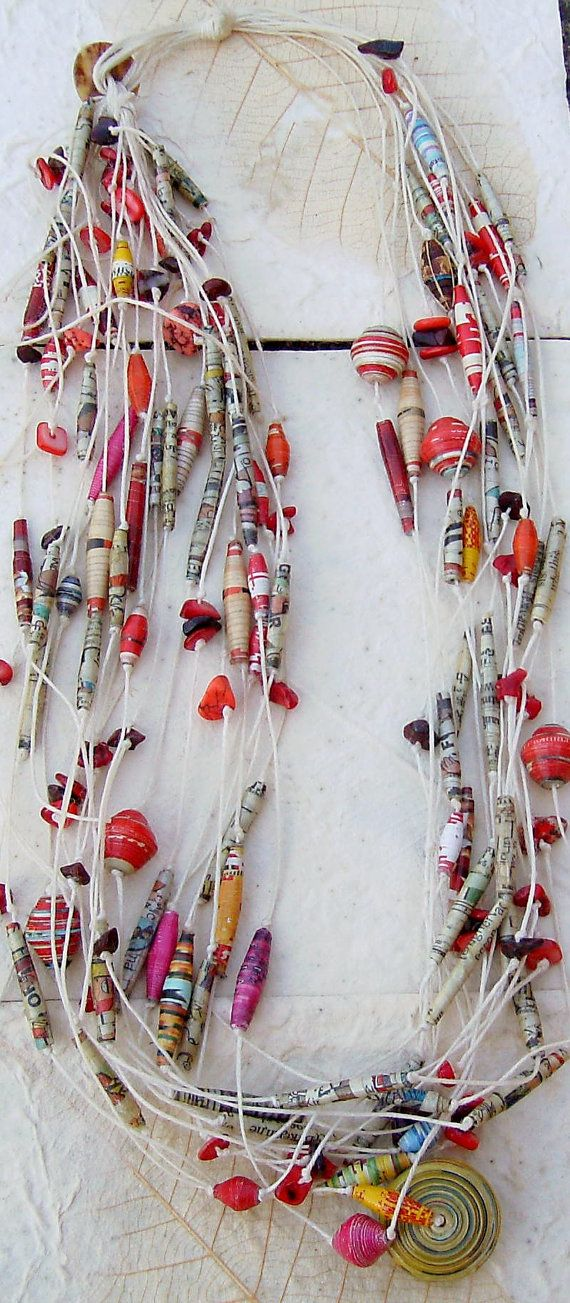 Red and multicolored paper jewelry necklace by ecocreations1936, $40.00