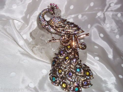NIB-Exquisite-JOAN-RIVERS-034-PEACOCK-034-Antique-Bronze-amp-Crystal-Pin-Brooch