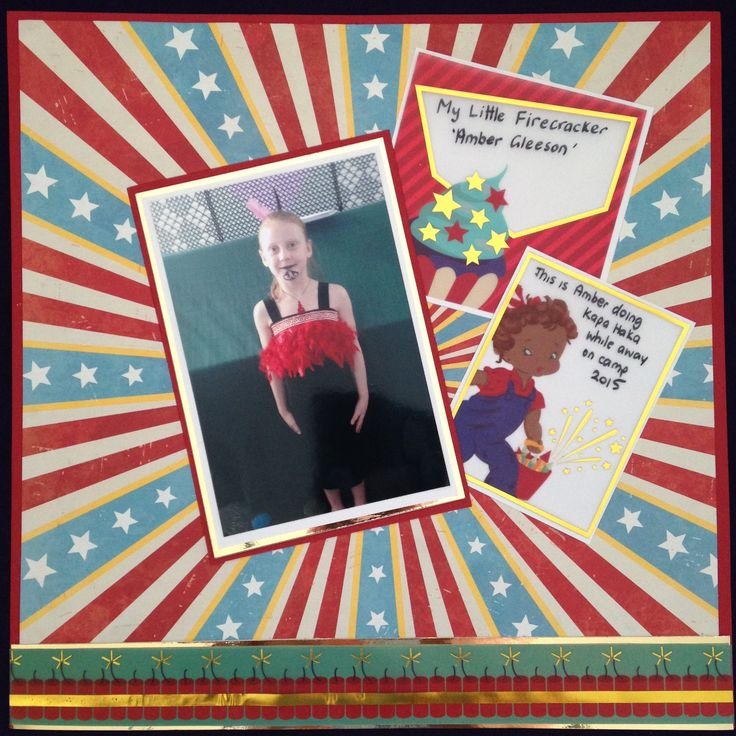 FIRECRACKER - $10. Using Bo Bunny Firecracker range. This is a great Beginners Page if you would like to try an easy scrapbook page.  It can be used as I have done for a child who is a Firecracker or for Guy Fawkes. Contact Deborah at kitsandbits1@gmail.com