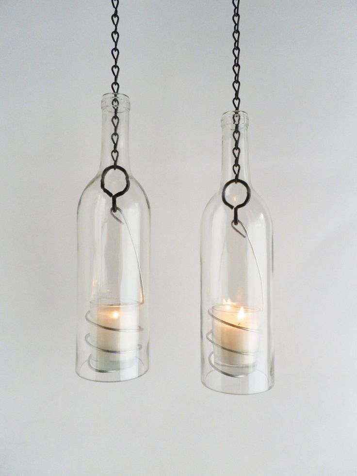 Wine Bottle Candle Holder Hanging Hurricane Lanterns Set of 2 Clear Glass Outdoor Lighting by BoMoLuTra on Etsy https://www.etsy.com/listing/98954943/wine-bottle-candle-holder-hanging