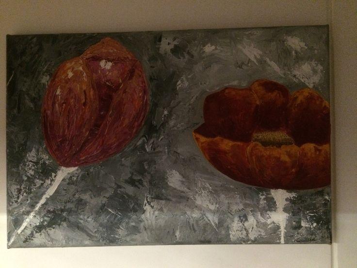 Título: TULIPANES Técnica: Espátula en Oleo Dimensiones: 60x40cm Características:  Pintura original de ETW, pintada con espátula y óleo sobre lienzo, plasmando una  interpretación abstracta de Tulipanes