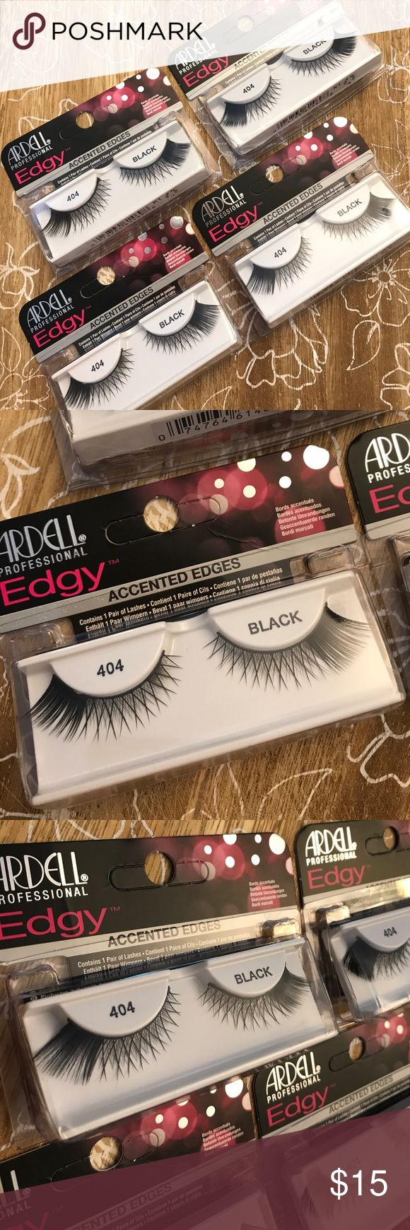 """Ardell Professional edgy 404 Black eye lashes """" with accented edges"""". new Edgy lash is a unique combination of natural strip lashes with accent edges. Each style is designed with a tapered inside with an accentuated edgy flare, to create that glam rock star look. (( 4 pack -  new in box )) STYLE:  Natural  Glamour SHAPE:  Small Eyes  Large Eyes  Round Eyes ardell Makeup False Eyelashes"""