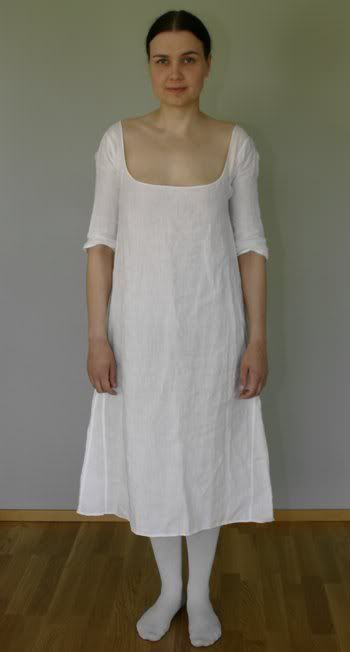 Hand sewn from 2.8 oz linen. The neckline is a little too low on the back. Late 18th century linen shift chemise