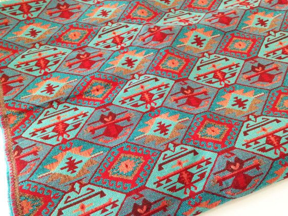 Half Meter / Yard,Traditional, Ethnic Tribal Style Upholstery Fabric,Cotton Woven Fabric,Tapestry Fabric,Aztec Navajo Geometric Kilim Fabric