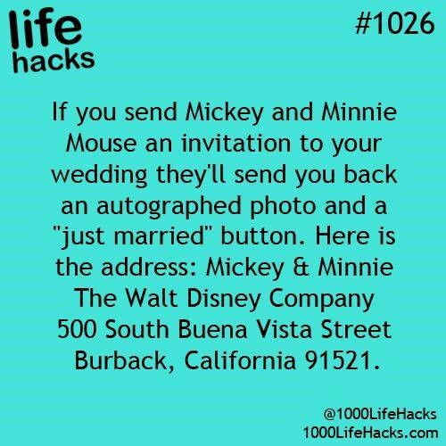 Send A Wedding Invite To Mickey Minnie And They Ll An Autographed Photo
