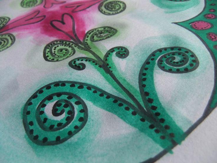 Detail eines Mandalas aus 4 Herzblumen, intuitiv gemalt (ohne Zirkel oder Lineal) aber dennoch symmetrisch, hier geht es zur dazugehörigen Mandala-Mal-Anleitung->