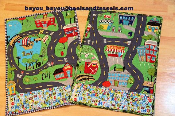 cars around town road map quilted play mat quiet books pinterest. Black Bedroom Furniture Sets. Home Design Ideas