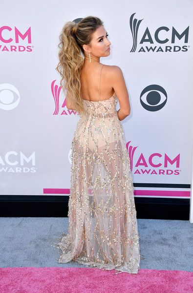Jessie James Decker : Wore a sheer, beaded Abyss by Abby Casino Royale gown at the 52nd annual Academy Of Country Music Awards in Las Vegas