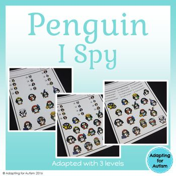 This no prep resource includes three adapted levels of silly winter penguin themed I Spy games.  Use these in your special education classroom to work on vocabulary, matching and visual discrimination.  Try them as an independent work task or send home for a fun family game!Contents: 3 levels of silly penguin I Spy games:1) for students who can read the items they need to find2) for students who can match identical pictures and need a visual key3) for students who can match identical…