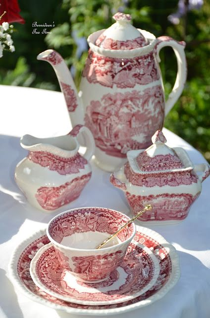 "Bernideen's Tea Time Blog: ENGLISH RED TRANSFERWARE for ""Tea In The Garden"""