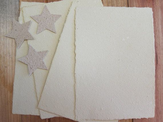 Creamy Handmade paper Recycled paper by marigoldmountain on Etsy