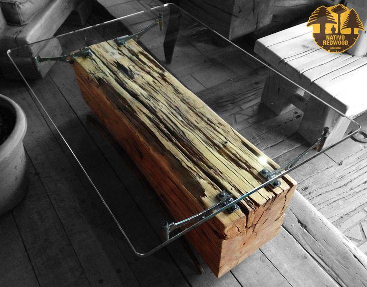 Nativo red wood mesa de centro linea natural wood con - Mesa centro madera y cristal ...