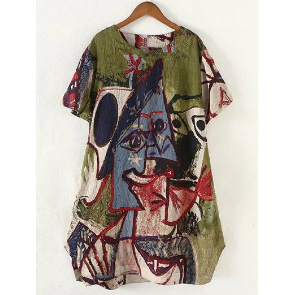 $16.30 Retro Style Plus Size Abstract Pattern Baggy Dress