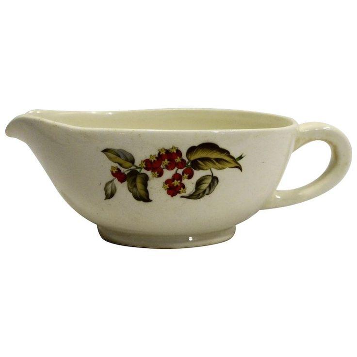 Hawthorn Hawthorne Berries Transfer Gravy Boat 1940s Pottery
