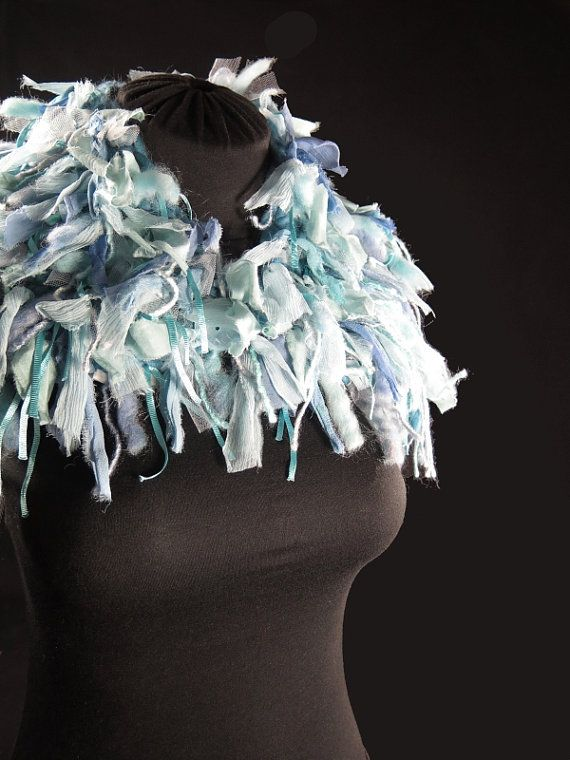 Designer's knitted choker scarf, pure wool and alpaca, frayed silk ribbons, tulle, bamboo, light blue green turquoise, hand-made by kalani