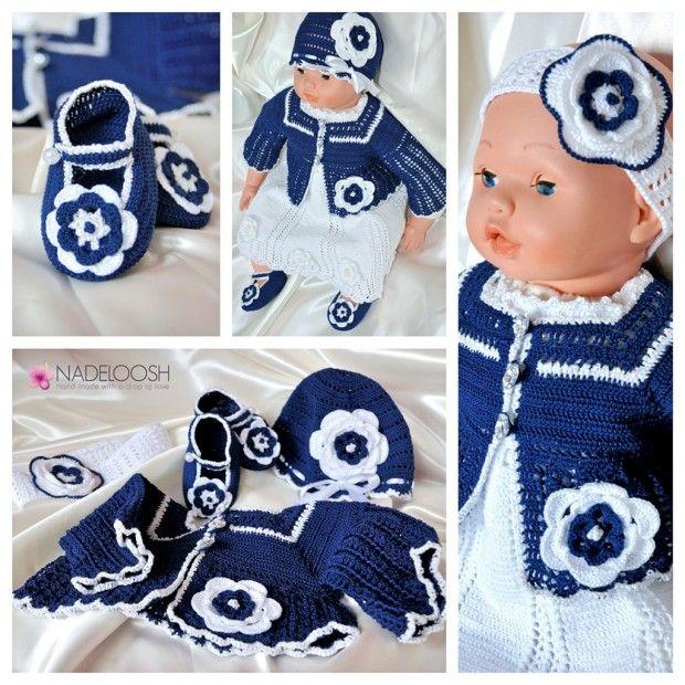 Hand made dress for baby girls, crochet, blue & white colors.