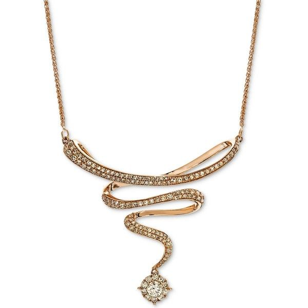 """Diamond Swirl 17\"""" Statement Necklace (3/4 ct. t.w.) in 14k Rose Gold ($2,100) ❤ liked on Polyvore featuring jewelry, necklaces, rose gold, diamond jewelry, diamond pendant necklace, rose gold statement necklace, diamond jewellery and 14 karat gold necklace"""