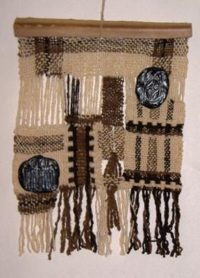 guardas tapiz en telar lana de oveja y de llama tejido en telar-bastidor