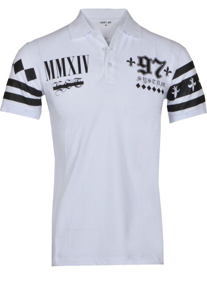 7c67138947a1 Σπορ ανδρική μπλούζα πολο κοντομάνικη λευκή με στάμπες