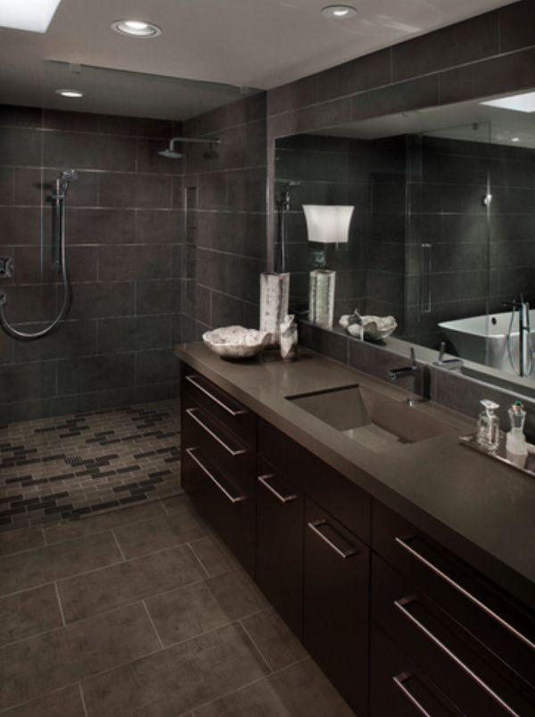 Bathroom : Modern Grey Bathroom In Dark Grey Vanity Cabinet With Granite  Sink Also Large Wall Mirror Also Dark Grey Ceramic Wall Stylish Masculine  Grey ...