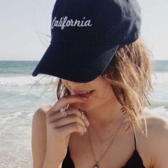 Brandy Melville navy blue California baseball hat ↠ Brandy Melville navy blue California baseball hat  ↠ only worn once, one size and adjustable  ↠ in excellent condition, a little dusty from sitting in my closet.  ↠ no trades, no PayPal - price firm unless bundled   ♡ Brandy Melville Accessories Hats