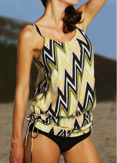 Black and Yellow Chevron Print Shirred Waist Tankini Swimsuit