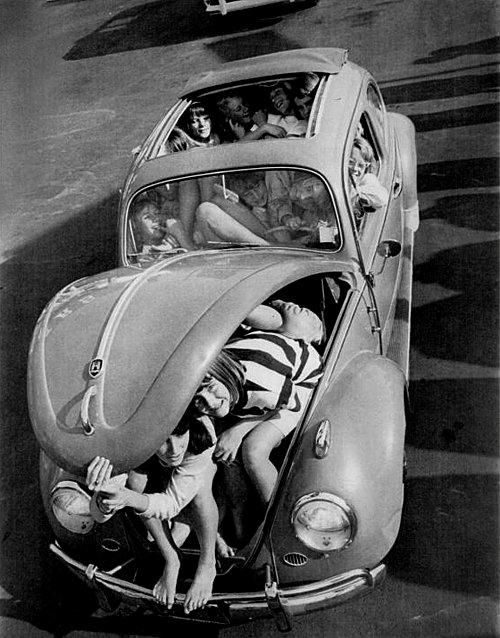 How many people can you fit in a Bug? #VW #Bug #Auto #Vehicle #Classic #Pictures