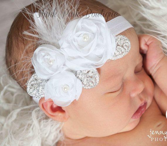 Cinta blanca cinta bebé rosa diadema de bautizo por ThinkPinkBows