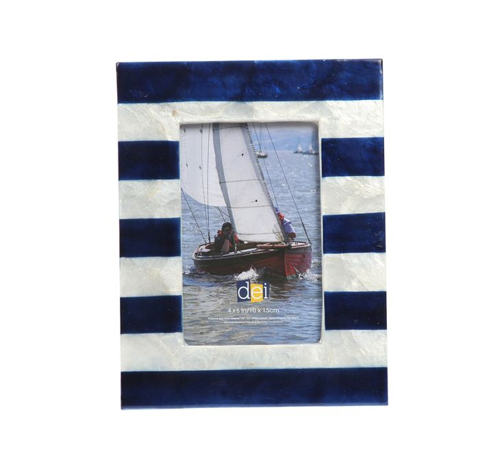 Latitude 38 Nautical Stripe Capiz Picture Frame