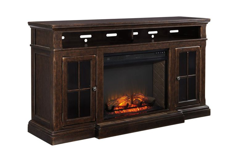 Roddinton Dark Brown Tv Stand With Fireplace Tv Stand W