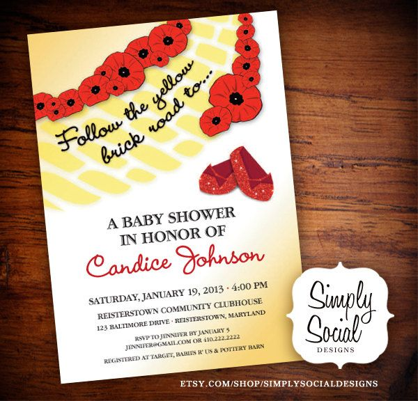 Kids Wizard of Oz Printable Baby Shower Invitation.