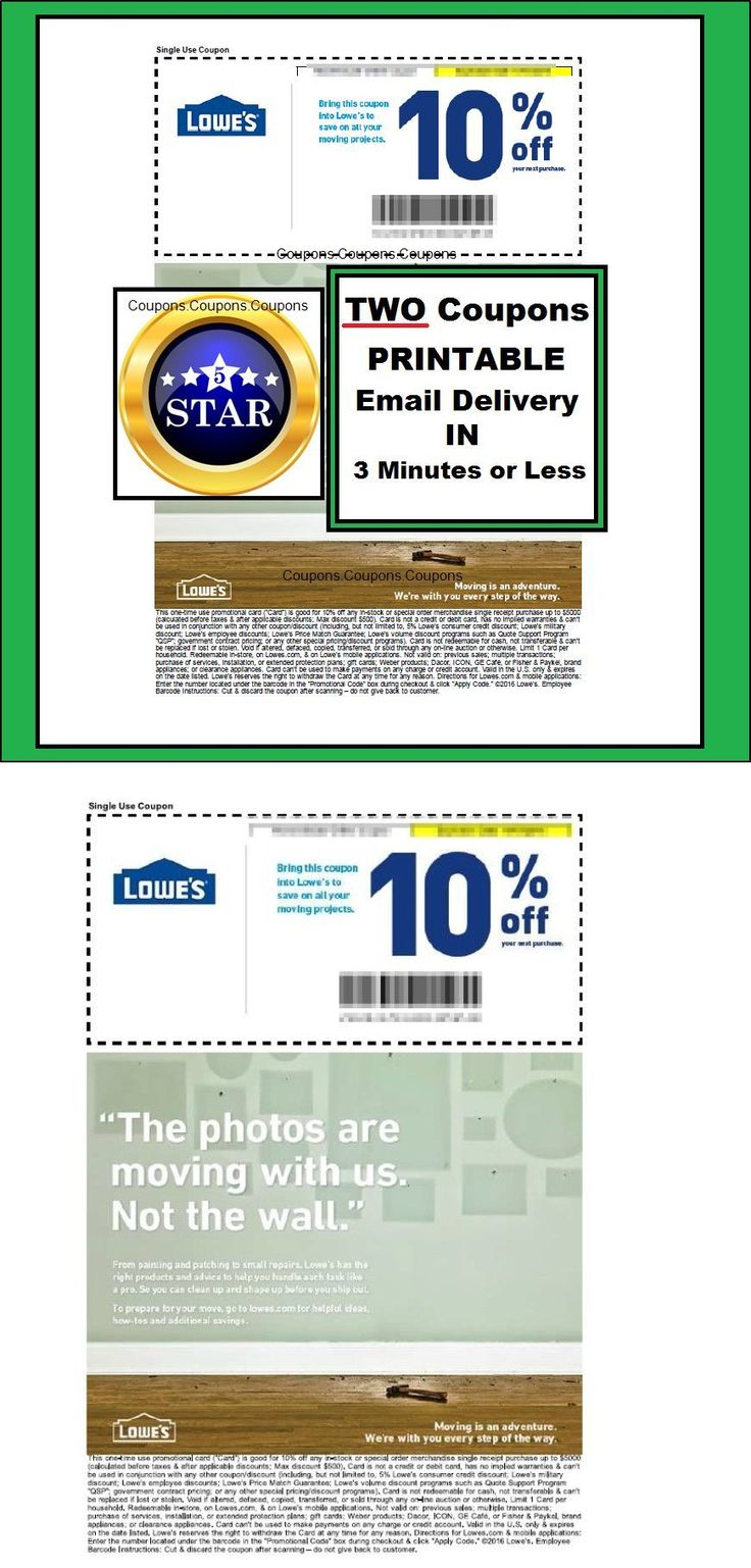 Coupons: (2X) - Two Lowes 10% Off Printable-Coupons - Valid In-Store Use Or @ Lowes.Com BUY IT NOW ONLY: $0.99