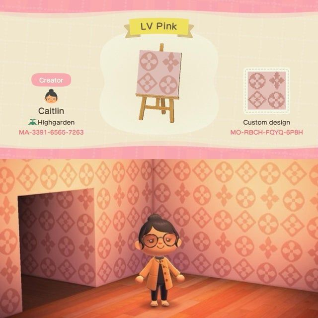My First Design Ever Pink Louis Vuitton Wallpaper Acqr Animal Crossing Animal Crossing 3ds Animal Crossing Qr