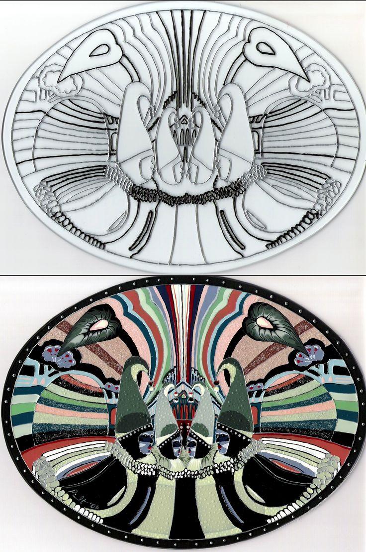 Mascarade / Avant-Après / Peinture vitrail et céramique