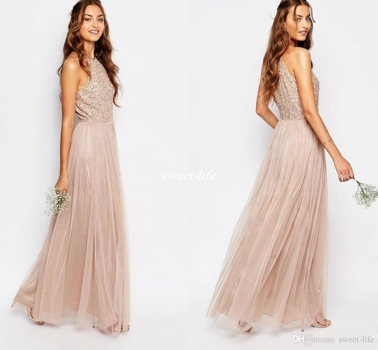 New Champagne Tulle Long Bridesmaid Dresses Sparkly Sequin Halter Neck 2016…