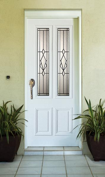 This door style, painted black, with a sidelight each side