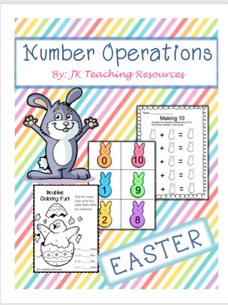 Easter themed, number operations, math games, math centers, math coloring sheet, making 10.